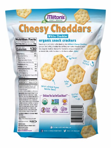 Milton's Craft Bakers Organic Cheesy White Cheddar Crackers Perspective: back