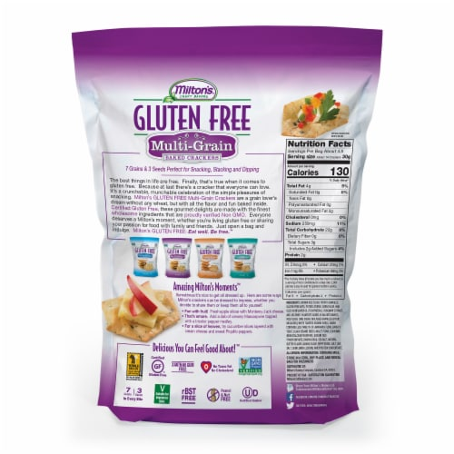 Milton's Craft Bakers Gluten Free Multi-Grain Baked Crackers Perspective: back