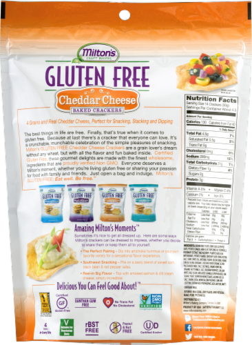 Milton's Craft Bakers Gluten Free Cheddar Cheese Baked Crackers Perspective: back