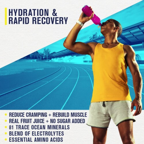 Hydrate Electrolyte + Amino Acids Drink Mix Powder - Natural Lemon & Watermelon Juice Perspective: back