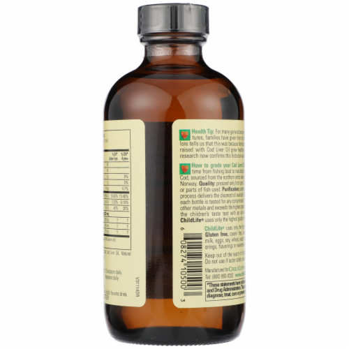 ChildLife Natural Strawberry Flavor Pure Arctic Cod Liver Oil Perspective: back