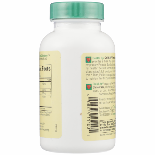 ChildLife Probiotics with Colostrum Mixed Berry Flavor Chewable Tablets Perspective: back