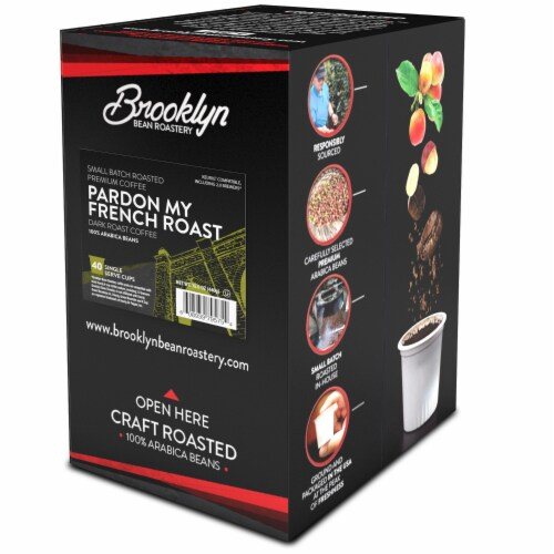 Brooklyn Beans French Roast Coffee Pods for Keurig K-Cups Coffee Maker 40 Count Perspective: back