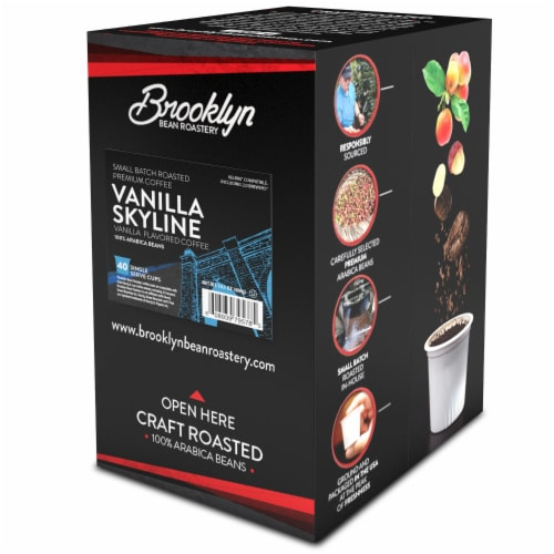 Brooklyn Beans Vanilla Flavored Coffee Pods, Vanilla Skyline, 40 Count Perspective: back