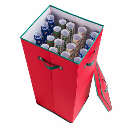 Wrapping Paper Storage Box with Lid Holds 20 Rolls 30 Inches Tall Organizer Perspective: back