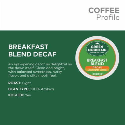 Green Mountain Breakfast Blend Decaf Light Roast Coffee K-Cup Pods Perspective: back