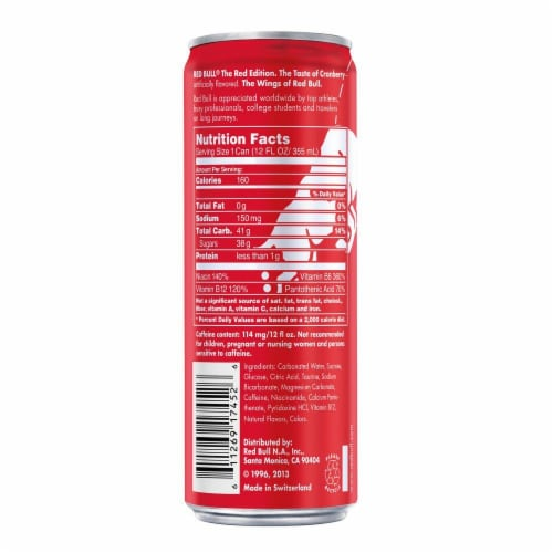 Red Bull The Red Edition Cranberry Energy Drink Perspective: back