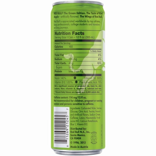 Red Bull The Green Edition Kiwi Apple Energy Drink Perspective: back