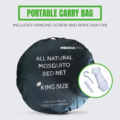 MEKKAPRO Extra-Large King Mosquito Bed Net, Made for King, Queen and Twin Perspective: back