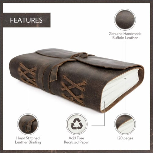 """Genuine Leather Journal Notebook, Unlined 120 Pages, Handmade Leather Bound (8"""" x 6"""") Perspective: back"""