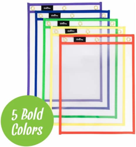 """WallDeca Dry Erase Pocket Sleeves Assorted Colors (25-Pack), 8.5"""" x 11"""" Job Ticket Holders Perspective: back"""