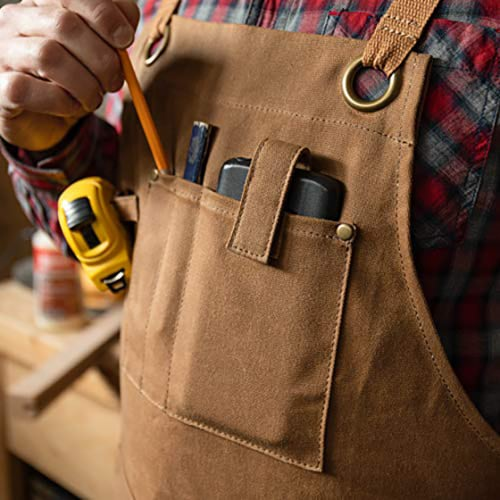 PD Canvas Woodworking Tool Apron with Shoulder Pads, Brown, Cross-Back 9 Tool Pockets Perspective: back