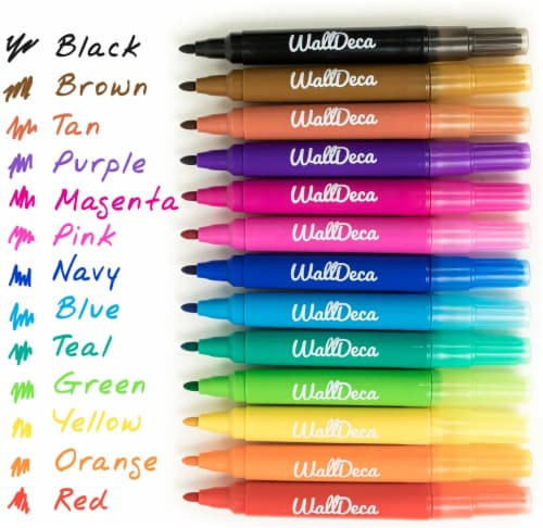 WallDeca Dry-Erase Thick Fine Line Markers, 13 Assorted Colors, Non-Toxic Art Tools for Kids Perspective: back