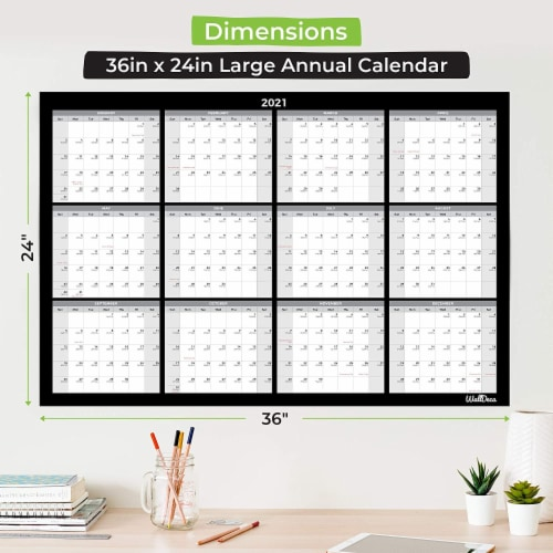 Large Annual Erasable Laminated Wall Calendar, 24 x 36 Inch, 2-Sided Reversible Perspective: back
