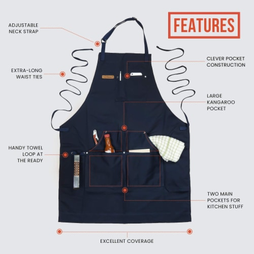 Chef Pomodoro Kitchen Apron- Adjustable Pockets, Bibs - Designed for Home, BBQ, Grill Use Perspective: back