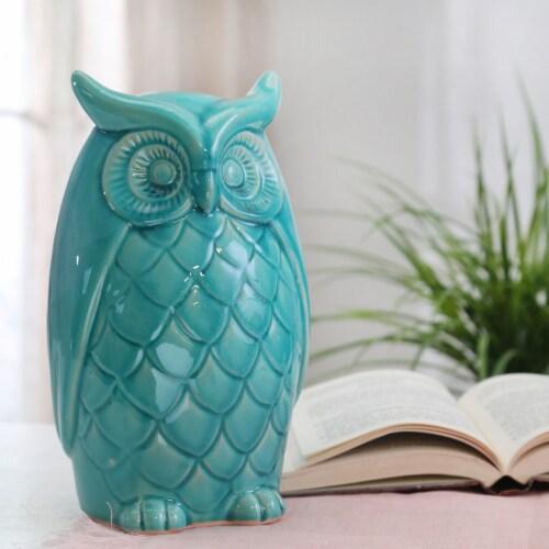 Ceramic Owl Decor, 10 , Teal Perspective: back