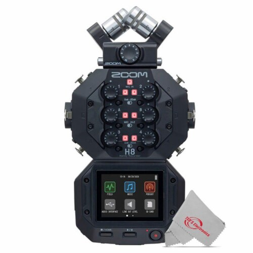 Zoom H8 8-input 12-track Digital Handy Audio Recorder + Three Podcast Mic Kit Perspective: back