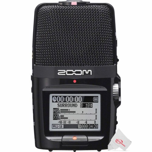 Zoom H2n Ext 2-input 4 Track Handy Digital Audio Recorder + Streaming Mic Kit Perspective: back