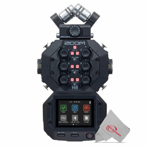 Zoom H8 8-input 12-track Digital Recorder + Podcast Accessory Bundle Perspective: back