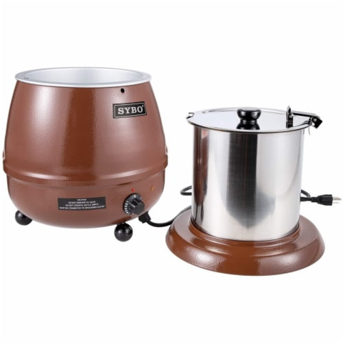 Sybo 10.5 Quart Electric Soup Warmer Commercial Crock Pot with Hinged Lid, Brown Perspective: back