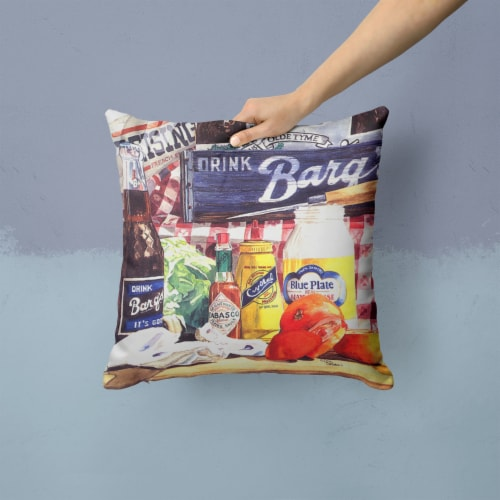 Blue Plate Mayonaise, Barq's a tomato sandwich Canvas Fabric Decorative Pillow Perspective: back