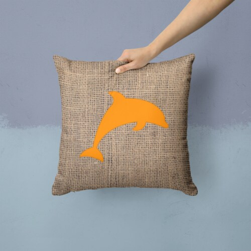 Dolphin Burlap and Orange   Canvas Fabric Decorative Pillow BB1025 Perspective: back