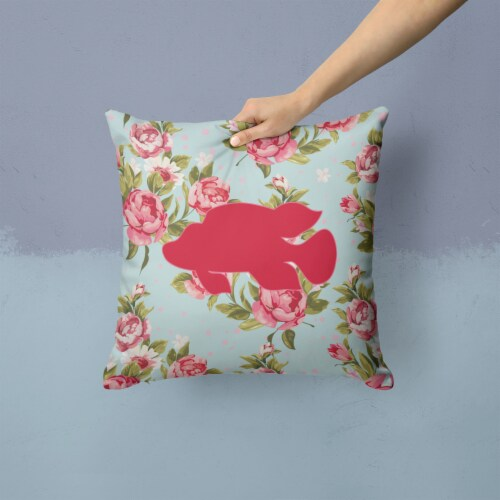 Fish - Tropical Fish Shabby Chic Blue Roses Canvas Fabric Decorative Pillow Perspective: back