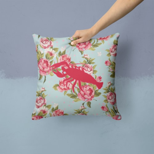 Lobster Shabby Chic Blue Roses   Canvas Fabric Decorative Pillow BB1028 Perspective: back