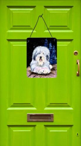 Starry Night Old English Sheepdog Aluminium Metal Wall or Door Hanging Prints Perspective: back