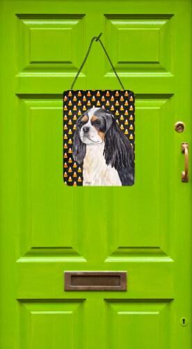 Cavalier Spaniel Tricolor Candy Corn Halloween  Wall or Door Hanging Prints Perspective: back