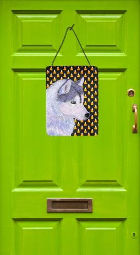 Siberian Husky Candy Corn Halloween Portrait Wall or Door Hanging Prints Perspective: back