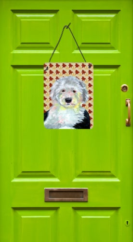 Old English Sheepdog Fall Leaves Portrait Wall or Door Hanging Prints Perspective: back