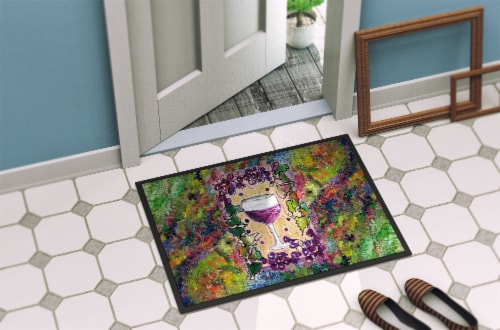 Red Wine Glass and grapes Indoor or Outdoor Mat 18x27 Perspective: back