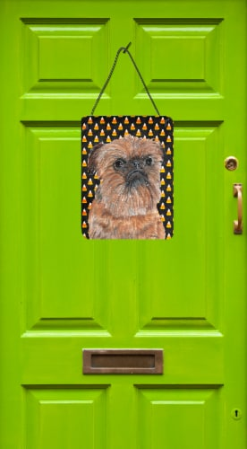 Brussels Griffon Halloween Candy Corn Wall or Door Hanging Prints Perspective: back