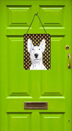Bull Terrier Halloween Candy Corn Aluminium Metal Wall or Door Hanging Prints Perspective: back