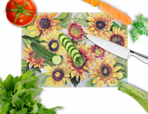 Carolines Treasures  8766LCB Sunflowers Glass Cutting Board Large Perspective: back