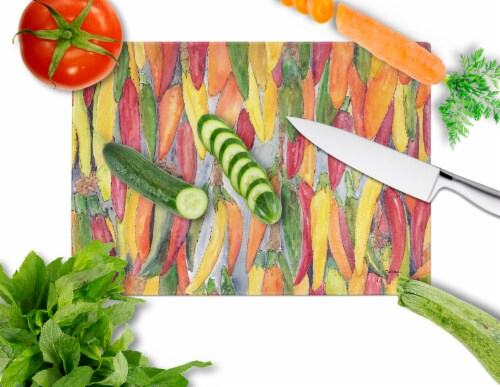 Carolines Treasures  8893LCB Hot Peppers Glass Cutting Board Large Perspective: back