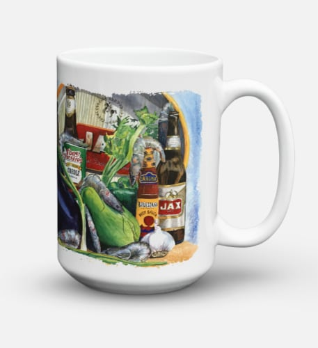 Eggplant and New Orleans Beers  Dishwasher Safe Microwavable Ceramic Coffee Mug Perspective: back