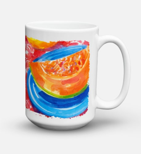 A Slice of Cantelope Dishwasher Safe Microwavable Ceramic Coffee Mug 15 ounce Perspective: back