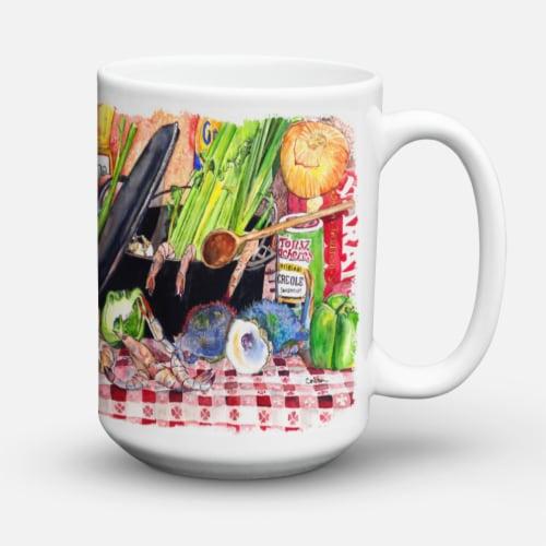 Gumbo and Potato Salad Dishwasher Safe Microwavable Ceramic Coffee Mug 15 ounce Perspective: back