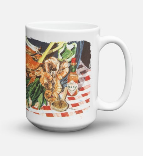 Crab Boil Dishwasher Safe Microwavable Ceramic Coffee Mug 15 ounce Perspective: back
