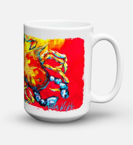 Crab Hot Dang Dishwasher Safe Microwavable Ceramic Coffee Mug 15 ounce Perspective: back