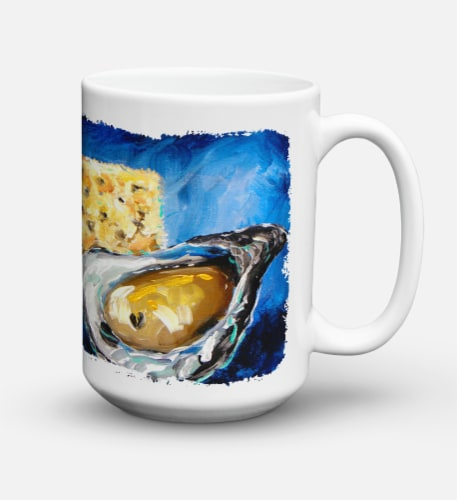 Oysters Two Crackers Dishwasher Safe Microwavable Ceramic Coffee Mug 15 ounce Perspective: back