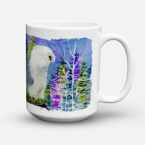 Old English Sheepdog Dishwasher Safe Microwavable Ceramic Coffee Mug 15 ounce Perspective: back