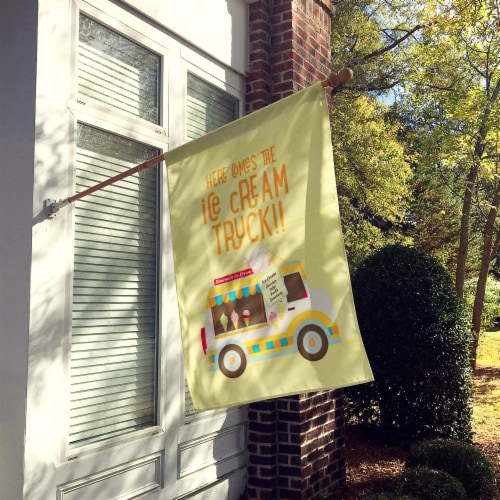 Here comes the ice cream truck Flag Canvas House Size Perspective: back