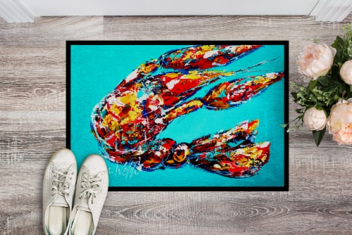 Lucy the Crawfish in blue Indoor or Outdoor Mat 24x36 Perspective: back