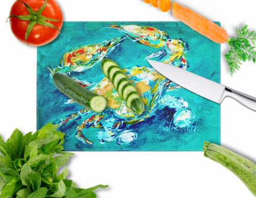 By Chance Crab in Aqua blue Glass Cutting Board Large Size Perspective: back