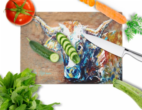 On the Loose Brown Cow Glass Cutting Board Large Size Perspective: back