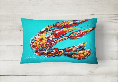 Lucy the Crawfish in blue   Canvas Fabric Decorative Pillow Perspective: back