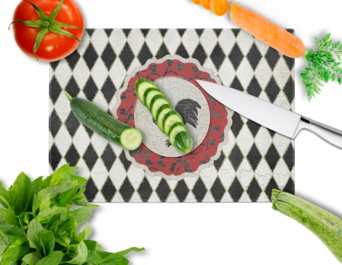 Rooster Harlequin Black and white Glass Cutting Board Large Size Perspective: back
